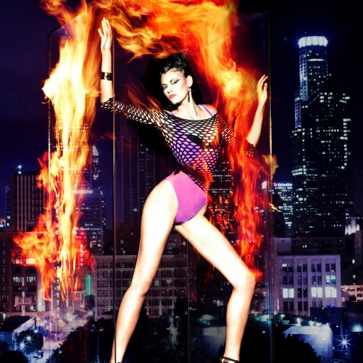 Lots of Leg and Fire Effects Fill Model Shoot with Los Angeles Skyline