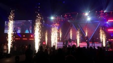 Exciting Blasts of White Sparkle Fountains Effects Energize Live Performance
