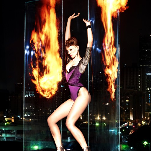 Live Fire Effects Surround a Top Model from Germany on a Los Angeles Rooftop